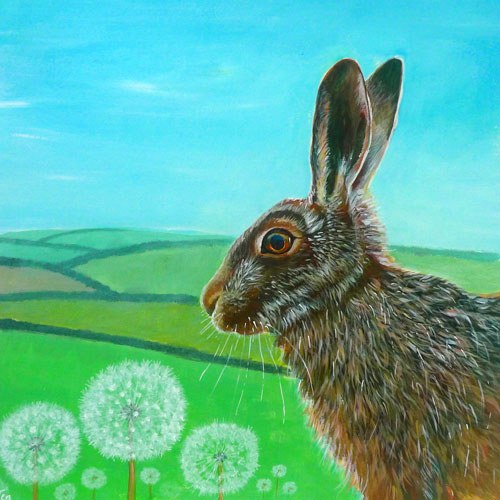 Summer Hare in a Dandelion Field (JU-053)